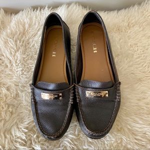 COACH Fredrica brown leather loafer / flats